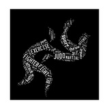 Judo Pictogram On Black Background Prints by  seiksoon