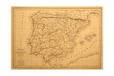 Old Map Of Spain And Portugal Posters by  Tektite