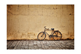 Old Vintage Bicycle Near The Wall Premium Giclee Print by  pzAxe