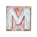 Wooden Alphabet Block, Letter M Prints by  donatas1205