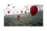 Red Balloons Over The Ocean Posters by Gunnar Assmy