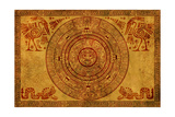 Maya Calendar On Ancient Parchment Reproducción por frenta