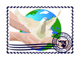 Postage Stamp. A White Dove Print by  GUARDING-OWO
