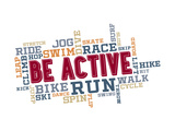 Active Fitness Word Cloud Collage Poster por  daveh900