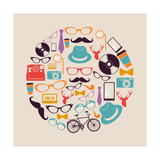 Vintage Hipsters Icons Circle Premium Giclee Print by  cienpies