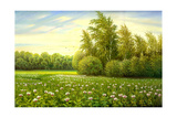 Flower Field With Trees And Bushes Art by  balaikin2009