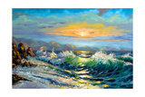 The Storm Sea On A Decline Print by  balaikin2009