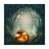 Pumpkin In Dark Forest Print by  egal