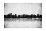 Grunge Image Of New York Skyline Print by  javarman