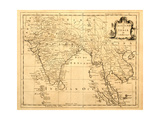 Old Map Of India Printed 1750 Premium Giclee Print by  Tektite