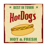 Vintage Hot Dog Grunge Poster Print by  radubalint