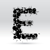 Letter E Formed By Inkblots Prints by Black Fox