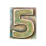 Wooden Alphabet Block, Number 5 Reproduction giclée Premium par  donatas1205