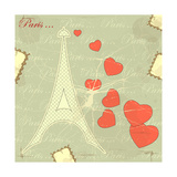 Eiffel Tower On Retro Background Prints by  elfivetrov