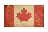 Canadian Aged Flat Flag Prints by  nazlisart