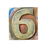 Wooden Alphabet Block, Number 6 Prints by  donatas1205