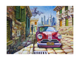 Old Red Car At The Sunny Street Prints by  Leks