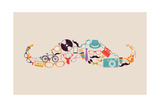 Retro Hipsters Icons Mustache Prints by  cienpies