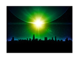 Planet Earth With Sunrise In Space Poster by  alanuster