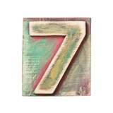 Wooden Alphabet Block, Number 7 Prints by  donatas1205