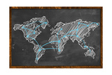 World Map Networking Blue Chalk Prints by  NatanaelGinting