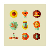 Coffee Shop Flat Icons Prints by  cienpies