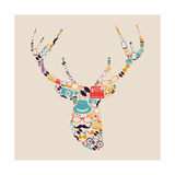 Retro Hipsters Icons Reindeer Print by  cienpies