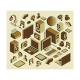 Isometric Media Element Set Prints by  photovs