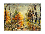 Autumn Bad Weather In Wood Print by  balaikin2009