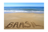 Brasil Written On Sandy Beach Poster por  viperagp