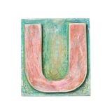 Wooden Alphabet Block, Letter U Print by  donatas1205
