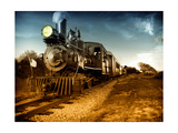 Vintage Steam Engine Train Art by Zero Minus One