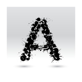 Letter A Formed By Inkblots Art by Black Fox