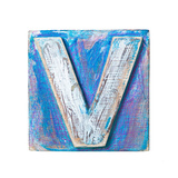 Wooden Alphabet Block, Letter V Prints by  donatas1205