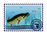 Postage Stamp. The Hunt For Pike Art by  GUARDING-OWO