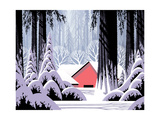 Winter Scene With Red Barn Posters by  Designwest