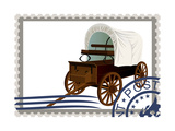 Postage Stamp. Covered Wagon Print by  GUARDING-OWO