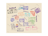 Real Visa Stamps From 9 Countries Posters by  yunna