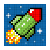 Pixel Rocket Flying Through Space Posters by  wongstock
