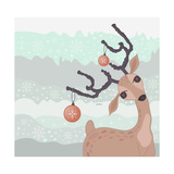 Christmas Reindeer Card Posters by cherry blossom girl