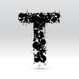 Letter T Formed By Inkblots Posters by Black Fox
