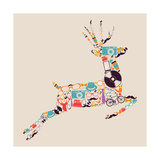 Retro Hipsters Icons Reindeer Prints by  cienpies