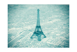 Eiffel Tower On The Map Of Paris Print by  doomu