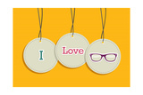 Hanging I Love Hipsters Badges Print by  cienpies