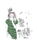 Fashion Sketch Illustration Girl Prints by  studiohome