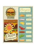 Burgers Menu Set Retro Poster par  elfivetrov