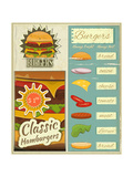 Burgers Menu Set Retro Poster by  elfivetrov