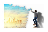 Young Man And Cityscape On The Wall Prints by Sergey Nivens