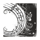 Black And White Music Background Láminas por  catrin81