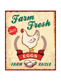 Retro Fresh Eggs Poster Design Affiches par  Catherinecml